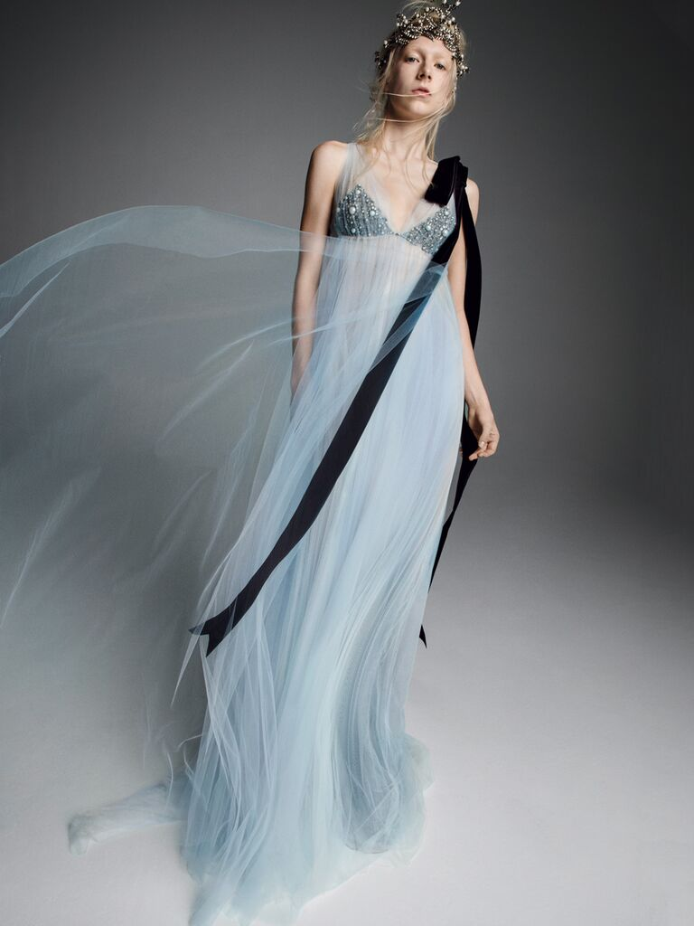 Vera Wang Fall 2019 Bridal Collection baby blue empire waist wedding dress with beaded bodice and black ribbon detail
