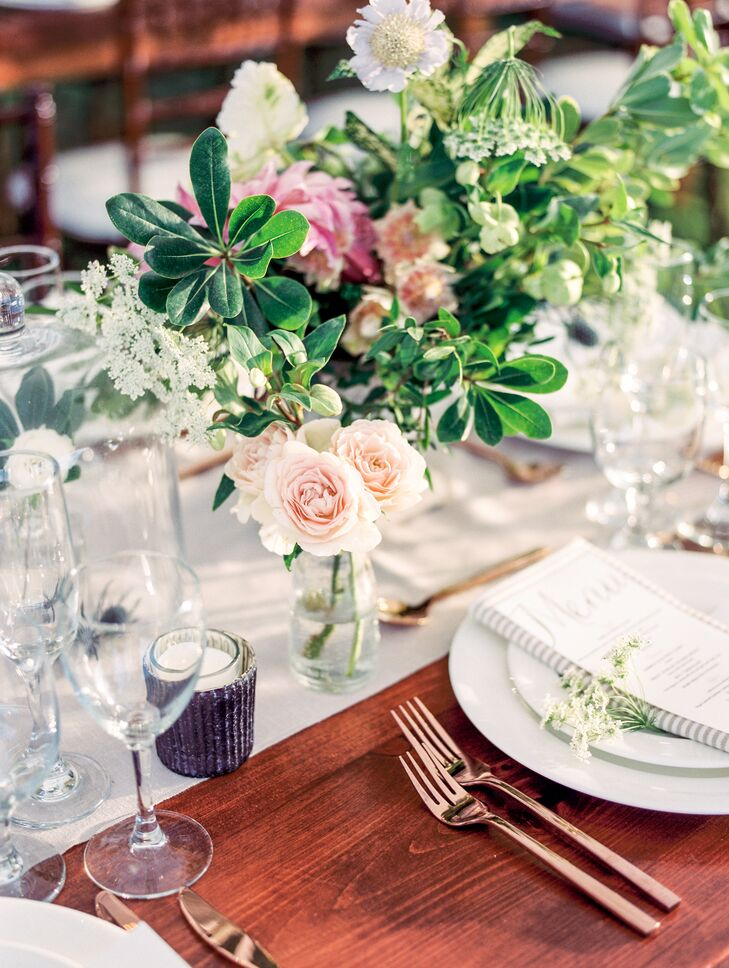 Rustic Low Centerpiece with Garden Roses, Queen Anne's Lace, Blushing Bride Protea and Greenery