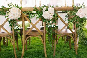 Textured Leaf, White Rose Reception Chair Decor