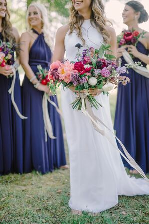 Purple, Pink Hand-Tied Wildflower Bridal Bouquet