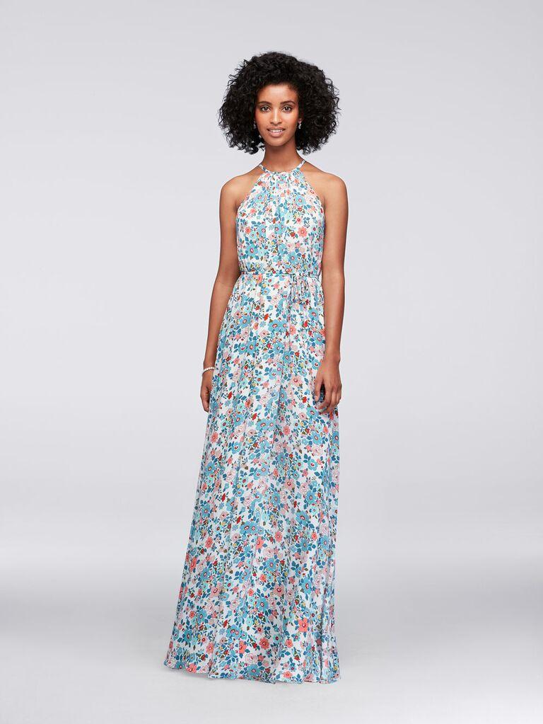 Floral halter David's Bridal spring bridesmaid dress