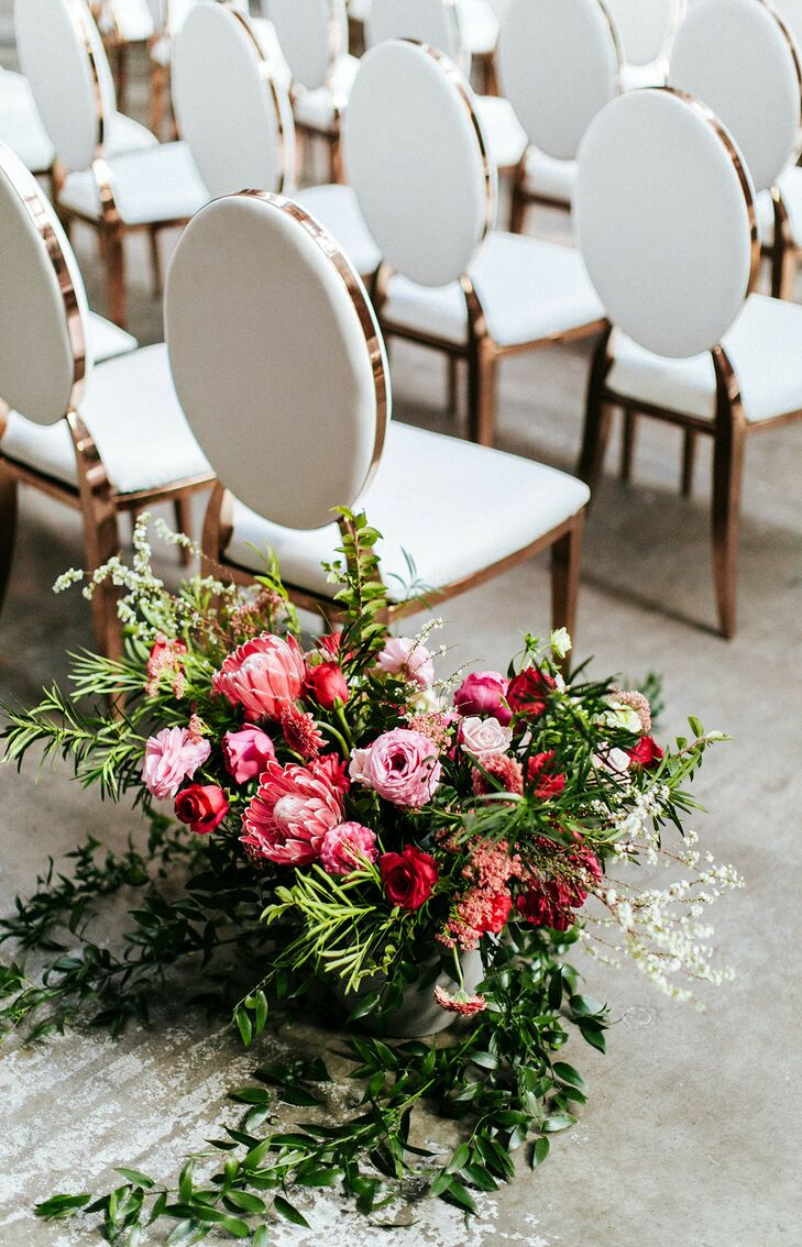 Pink Aisle Arrangement for Wedding at Sandbox in San Diego, California