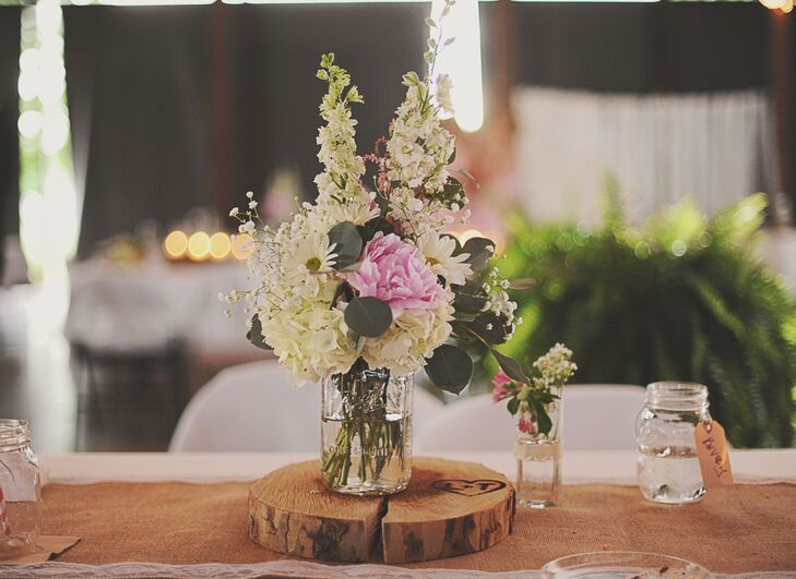 Simple Blush Wildflower Centerpieces