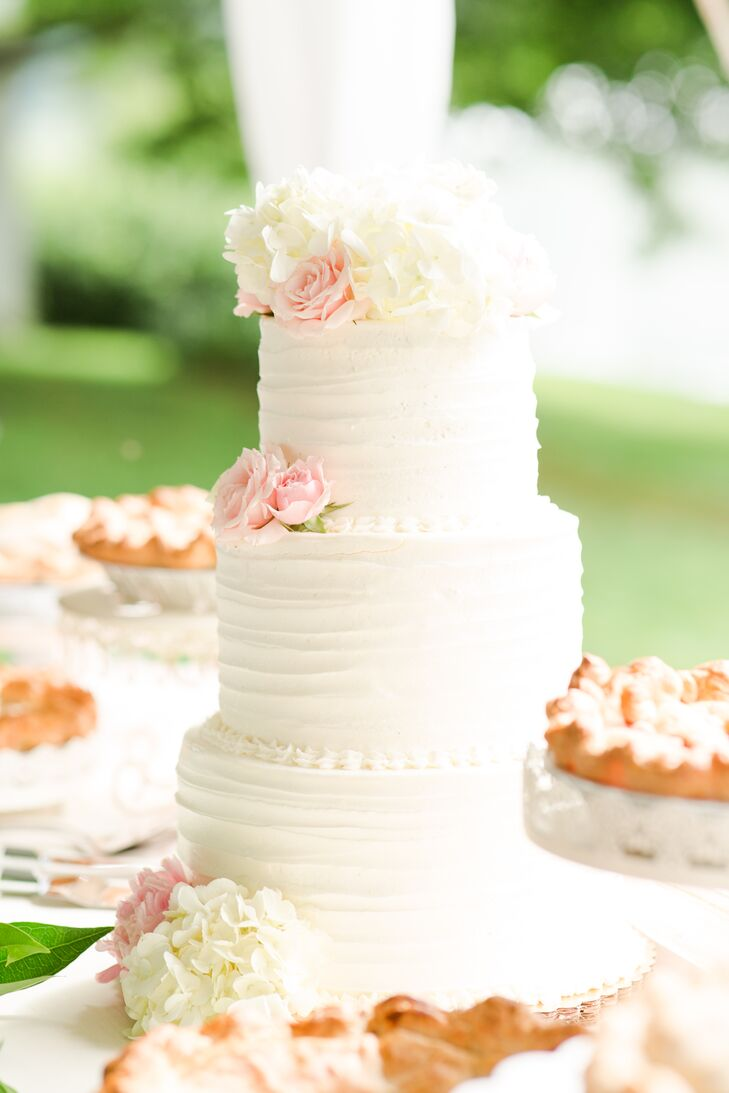 Classic Buttercream Cake with Roses and Hydrangeas