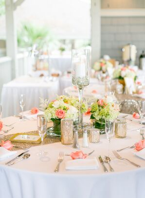 Gold Table Runners and Vibrant Hydrangea Centerpieces