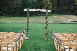 Natural Wood Wedding Arch at Ceremony
