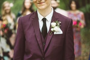 Burgundy Tuxedo with Black Neck Tie