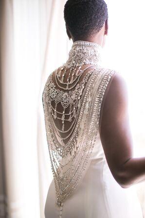 Wedding Dress with Elegant Caplet Jewelry