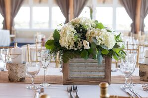 Rustic Centerpiece with White Hydrangeas