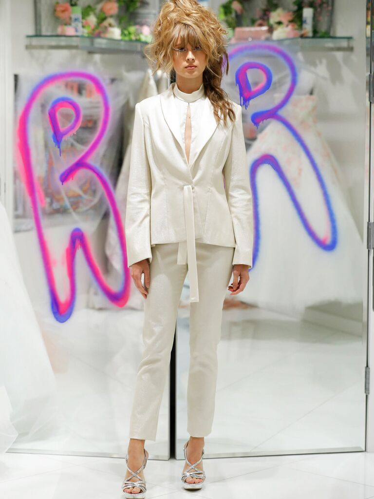 Randi Rahm Fall 2019 Bridal Fashion Week Collection structured pant suit