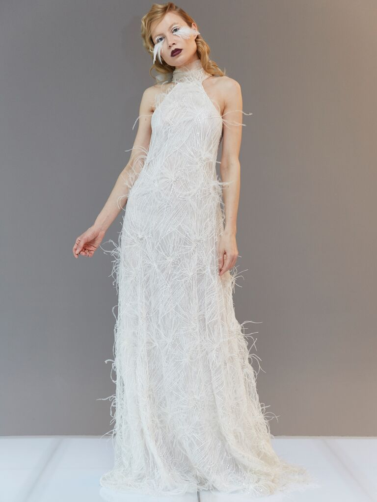 Francesca Miranda Spring 2020 Bridal Collection feathered high-neck wedding dress