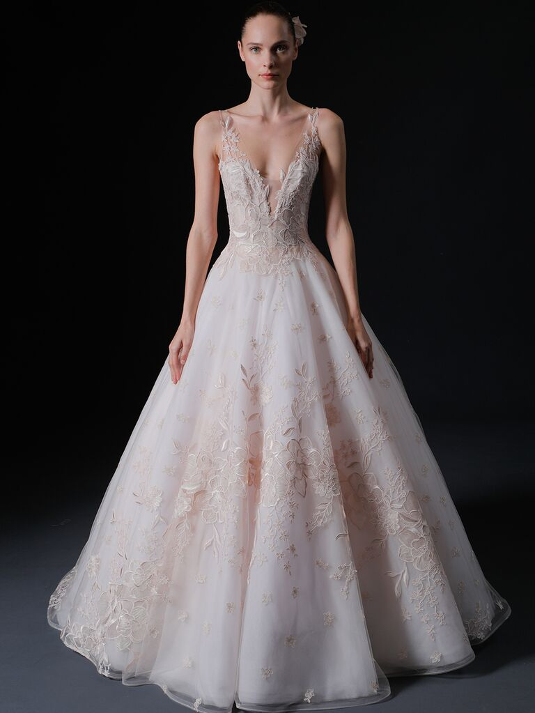 Isabelle Armstrong Spring 2020 Bridal Collection blush sleeveless A-line wedding dress with floral embellishment