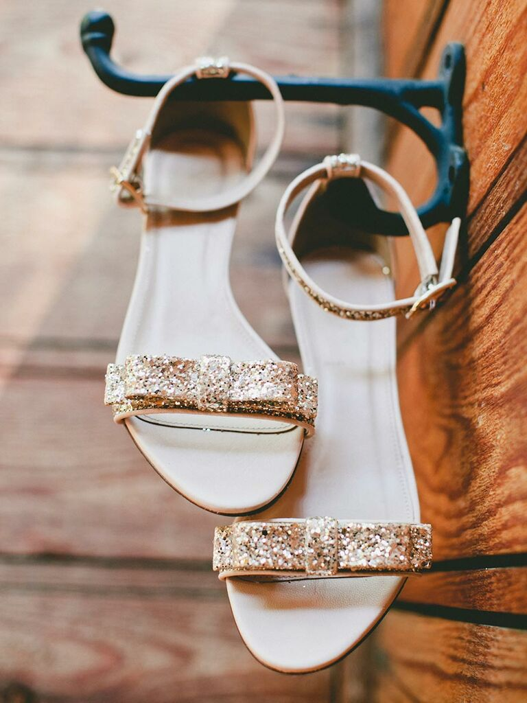Sparkly Gold Flats Wedding Shoes With Ankle Straps