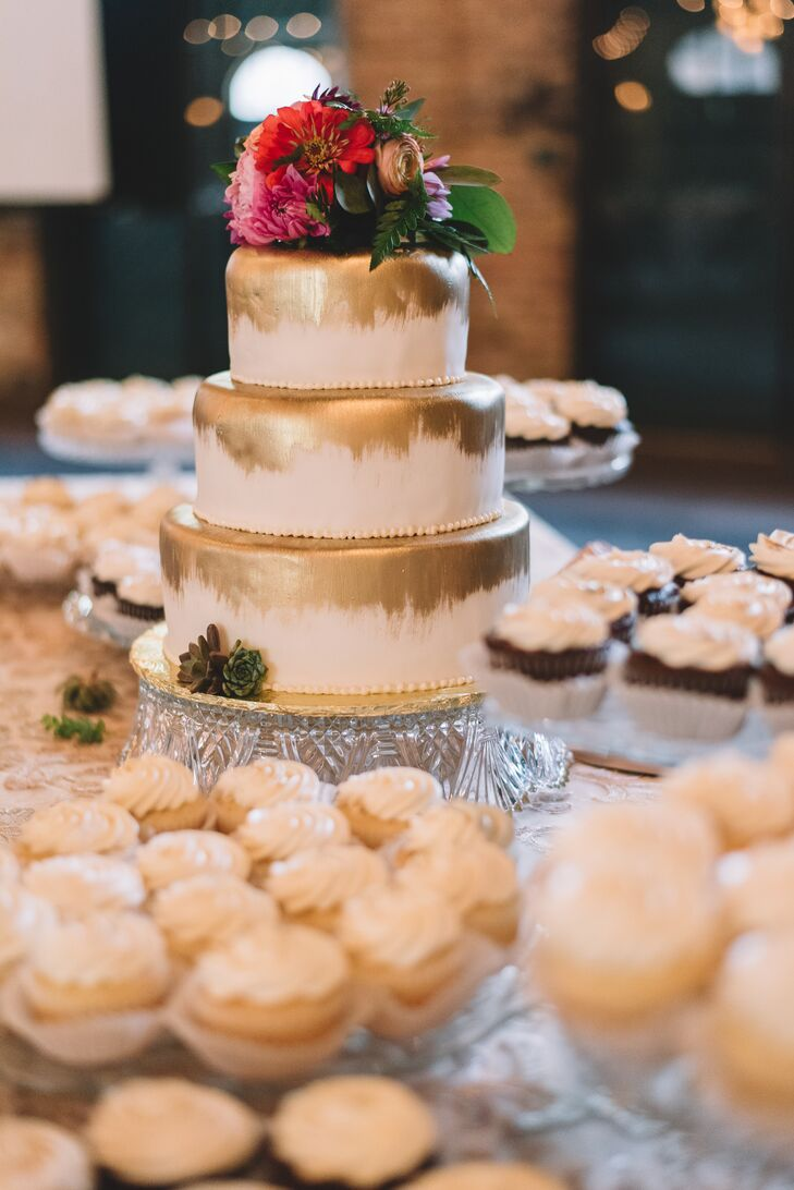 Two of Connie's hobbies—creating gold-leaf effects and making succulent arrangements—were represented on the three-tier chocolate mudslide/vanilla lemon curd raspberry/chocolate Reese's peanut butter cake through a hand-painted gold-leaf design.