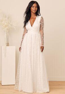 Lulus A Love So True White Polka Dot Jacquard Long Sleeve Maxi Dress A-Line Wedding Dress