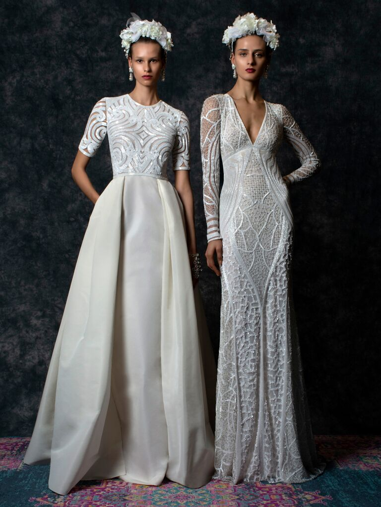 Naeem Khan Spring 2020 Bridal Collection lace crocheted wedding dresses