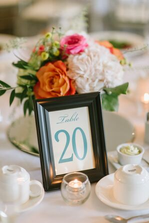 Modern Flower Centerpieces and Framed Table Number