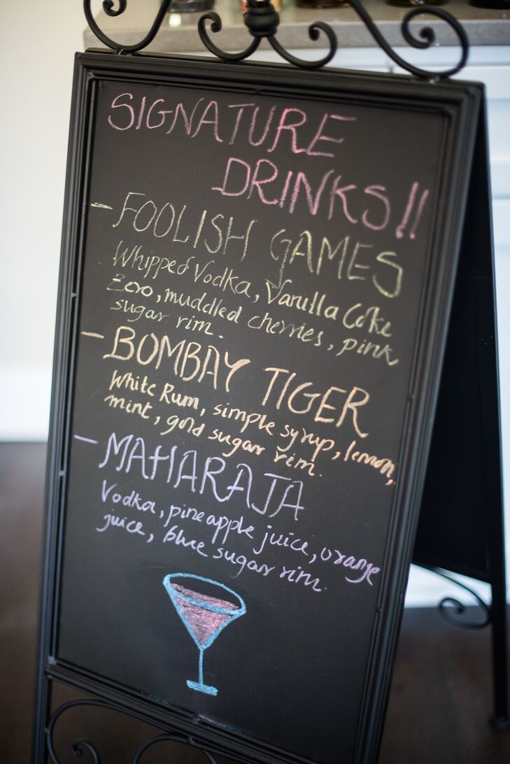 The couple's playful cocktail menu included two Indian-inspired drinks and a third that referred to the wedding date, April Fools' Day.