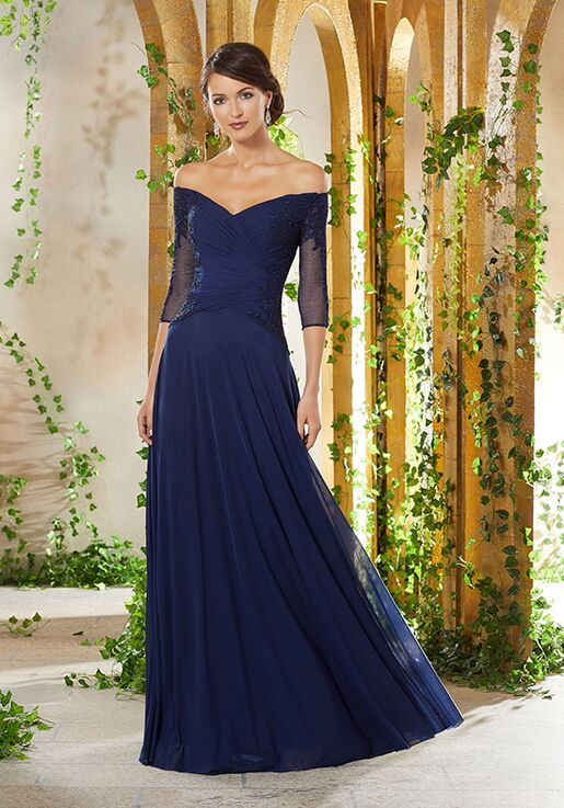 MGNY 71921 Blue Mother Of The Bride Dress