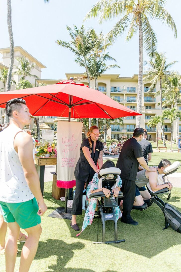 On-Site Massages at Post-Wedding Brunch in Hawaii