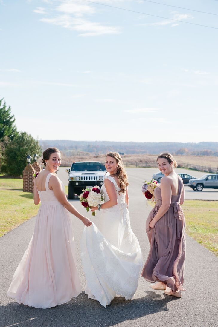 The bridesmaids wore floor length dresses in the styles of their choice in shades of blush, dusty purple and gray.