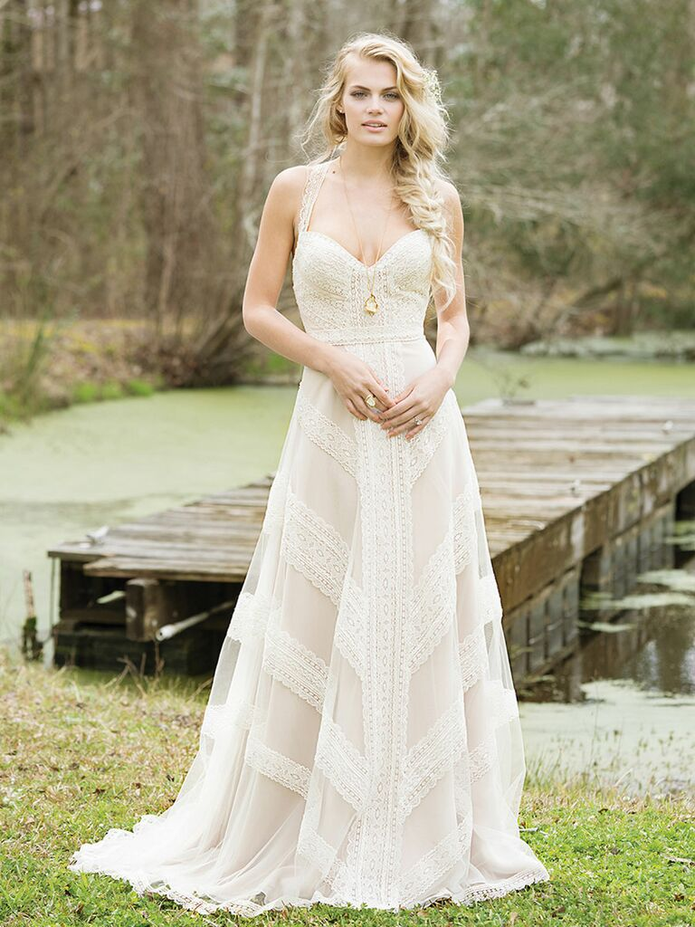 807940c4d1f Lillian West Spring 2017 lace halter-neck wedding dress with a-line skirt  and