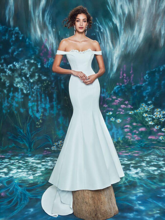 Ines Di Santo off-the-shoulder trumpet wedding dress