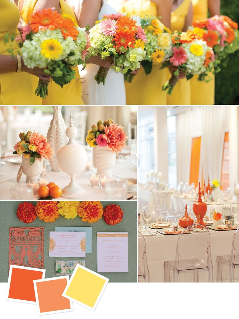 15 wedding color combos youve never seen tangerine orange and yellow wedding details mightylinksfo