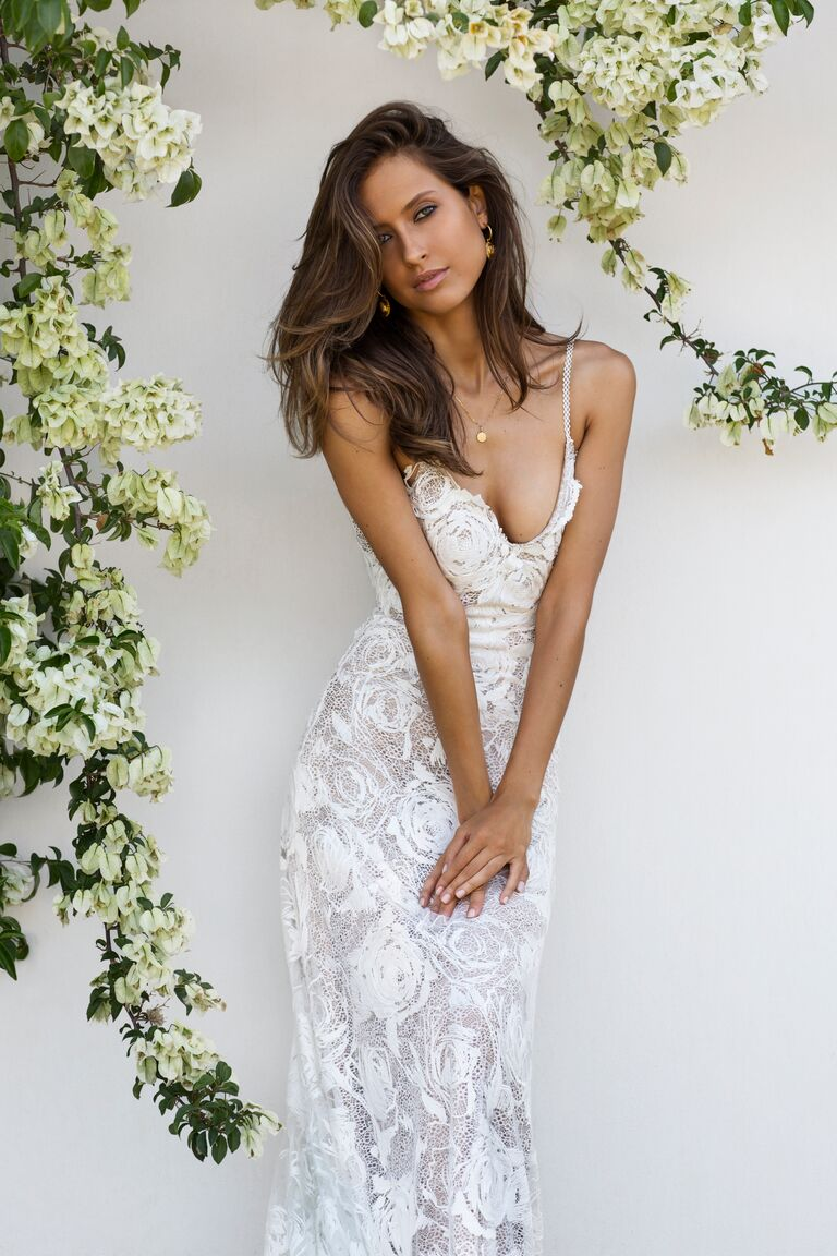 Grace Loves Lace Elixir Collection wedding gown with textured floral overlay