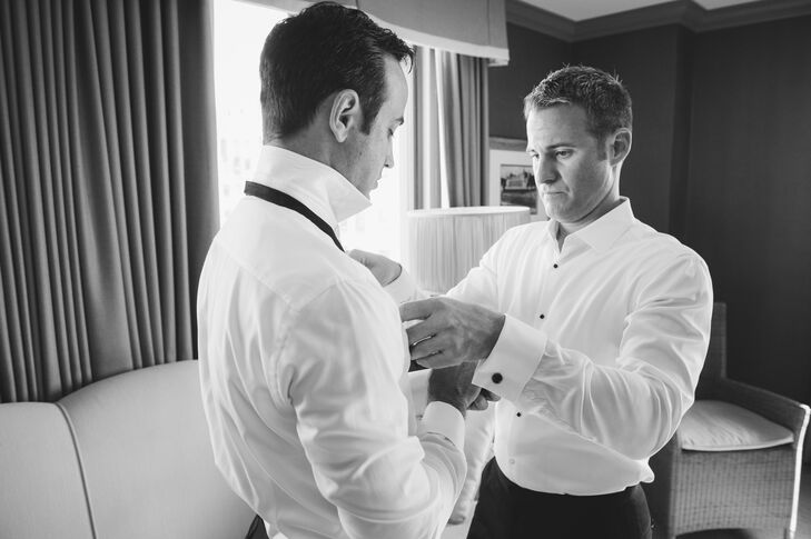 Cory and Randy got ready together at the Los Angeles Athletic Club. They each helped one another tie their formal bow ties and fasten cuff links.