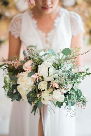 Bridal Bouquet of Baby's Breath, Garden Roses, Astilbe and Greenery