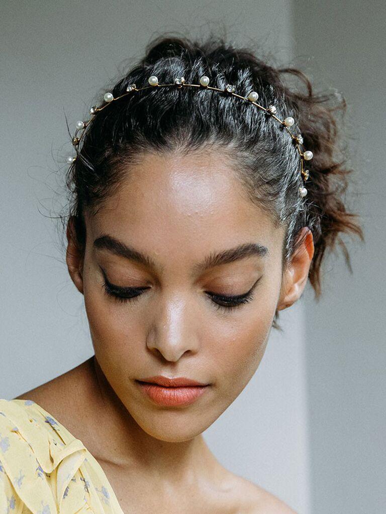 Pearl and crystal thin wedding headband