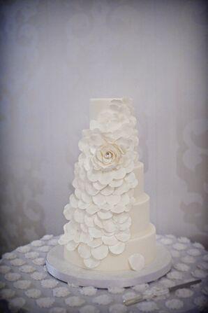 Rose Petal Cascade Wedding Cake