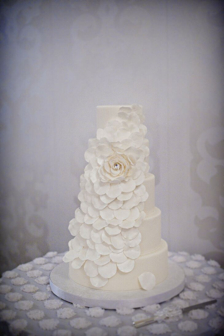 Rose Petal Cascade Wedding Cake