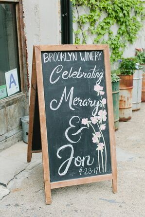 Chalkboard Sign with Cherry Blossom Illustration