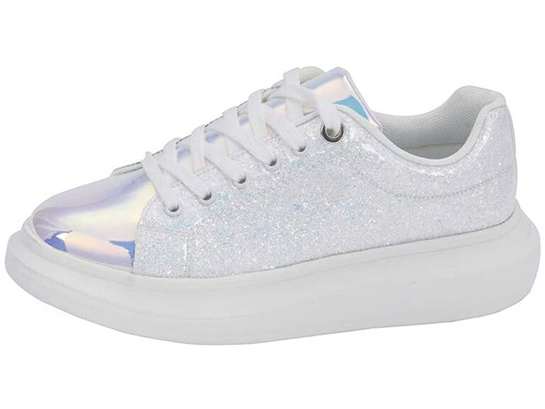 White glittery sneakers with iridescent tongue and toe