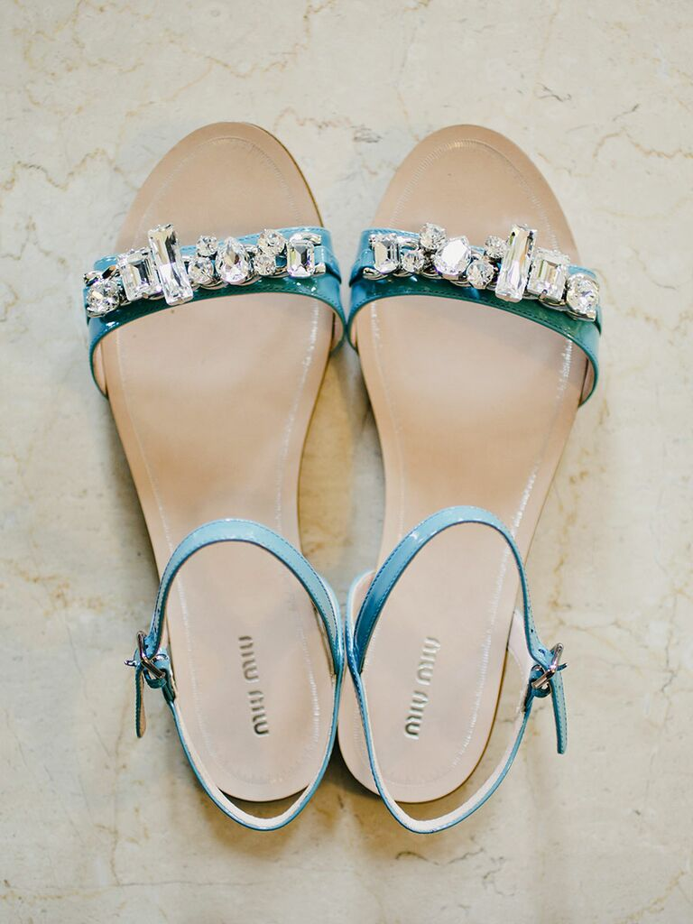 ad63a2c0081 Something blue flat wedding shoe sandals