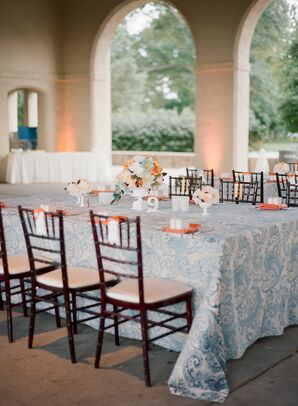 Dining Table with Blue Detailed Linens
