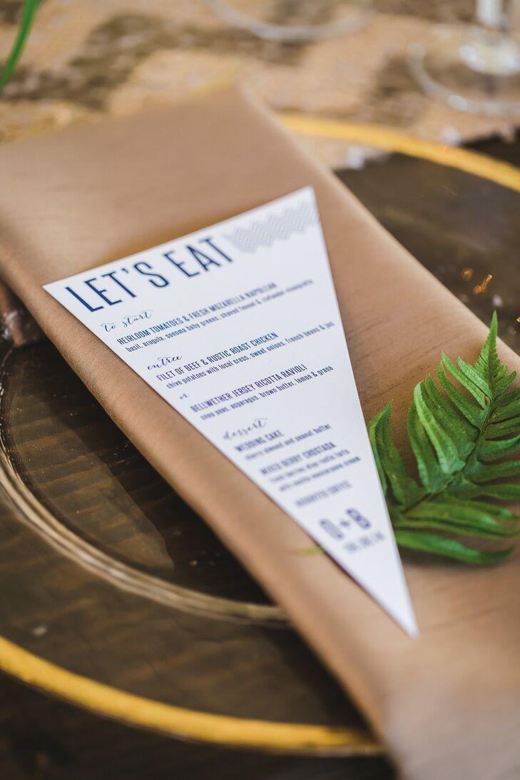 'Let's Eat' Menus With Linen Napkins