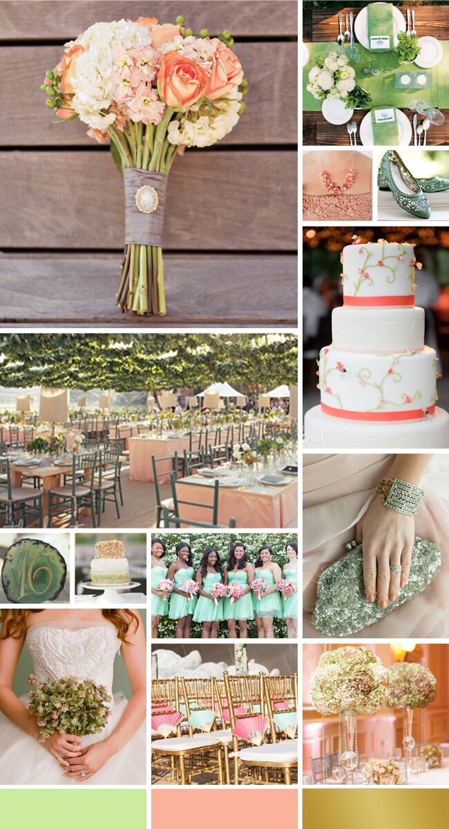 Color Palette We Re Loving Mint Peach And Gold
