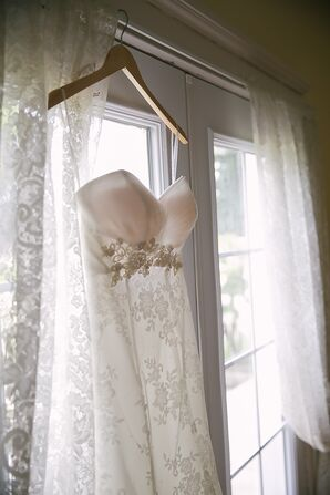 White Fit and Flare Wedding Dress with Lace Overlay