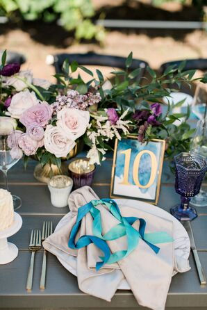 Watercolor Table Numbers and Ribbons