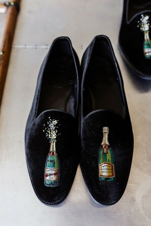 Black Velvet Loafers with Embroidered Champagne Bottles