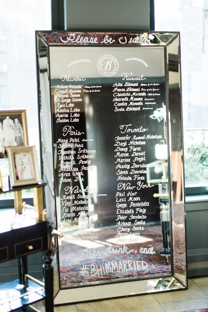 A vintage mirror served as the reception's seating chart, with the names and seating assignments of each guest hand-lettered on the object's reflective surface.