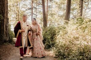 Elegant Bride and Groom with Traditional Hindu Outfits