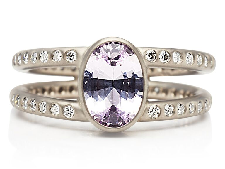Lavender sapphire engagemetn ring with double pavé band