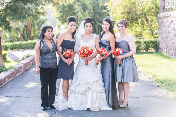 """""""I liked that my bridesmaids would be able to show off their own style and personality. Surprisingly, all of their dresses matched,"""" says Chantley."""