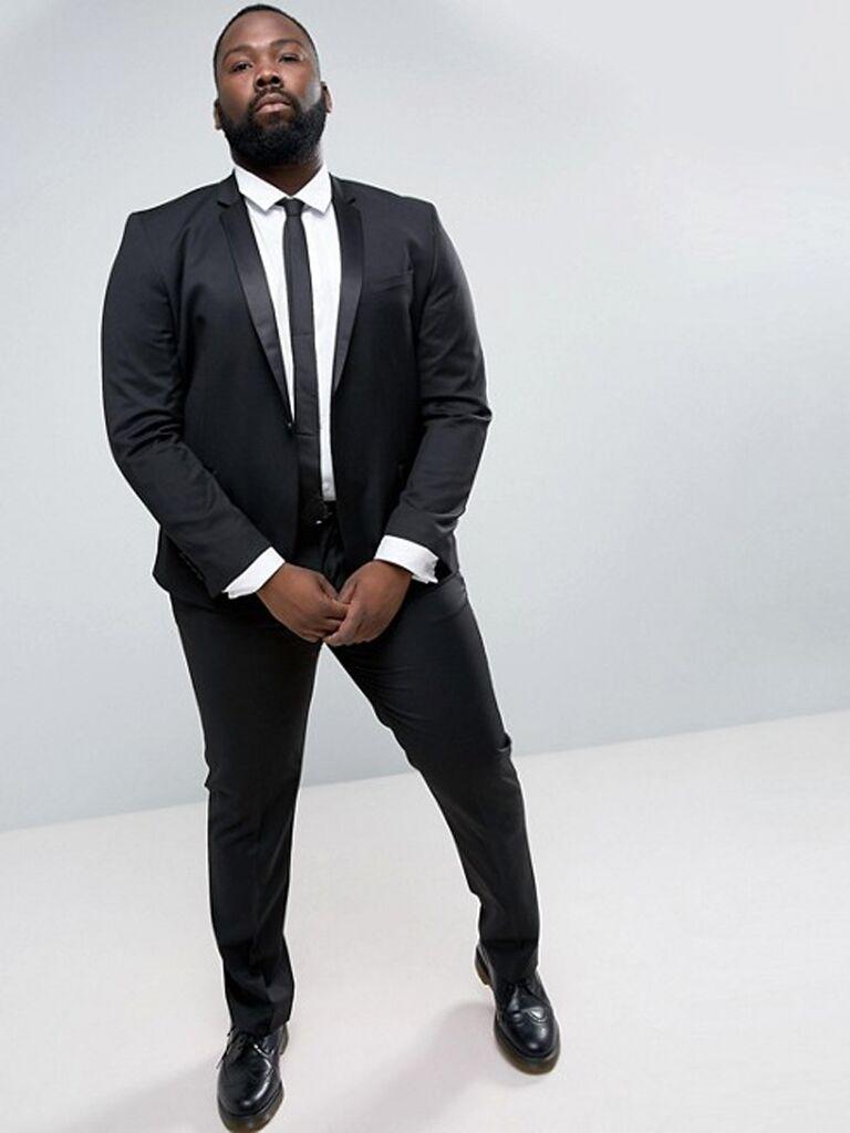 ASOS PLUS slim tuxedo suit jacket in Black dc91655540