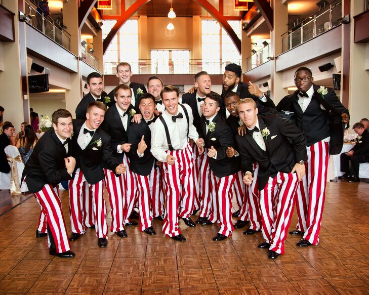 Indiana University's basketball team is famous for their cream and crimson candy-striped warm-up pants. Famous Hoosier basketball coach Bobby Knight started the tradition in the 1970s when geometric-patterned attire was big. Since many of the groomsmen played on the basketball team with Jordan, they all changed into the warm-up gear for the reception.