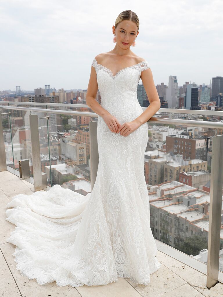 073268cae7 Maggie Sottero Spring 2019 sleeveless off-the-shoulder trumpet wedding dress  with detailed overlay